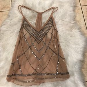Forever 21 embellished see through tank